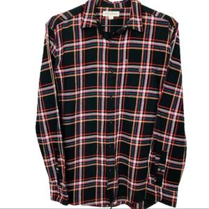Oversized Black Pink Plaid Flannel Shirt Shacket